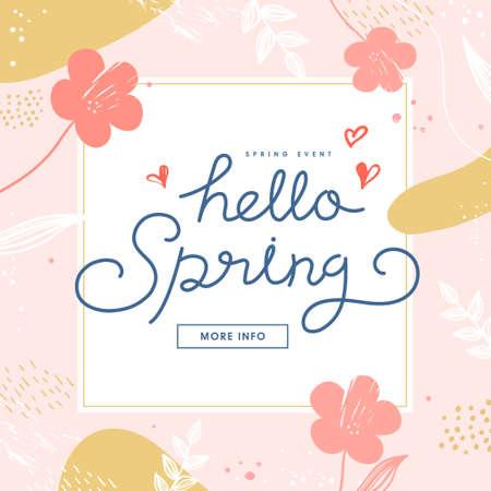 Shopping Banner Illustration Design.Tropic covers set. spring season patterns design.