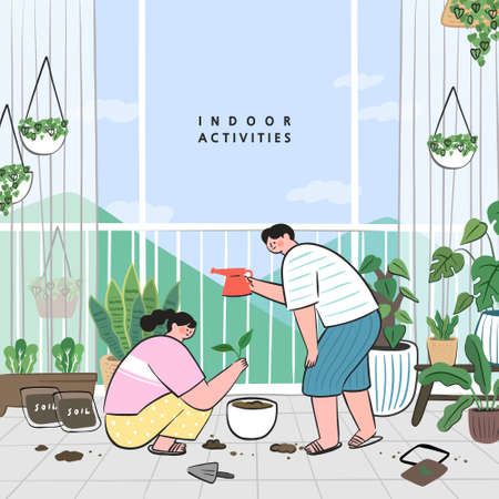 Concept of hobby ideas that can do at home.stay at home concept series. taking care of houseplants growing in pots or planters. Illustration