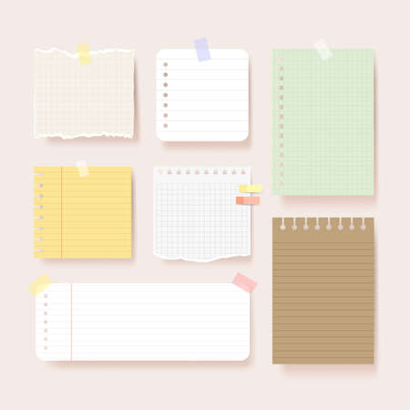 Scrapbook papers. Blank notepad pages vector illustration.Paper glued to wall with tape