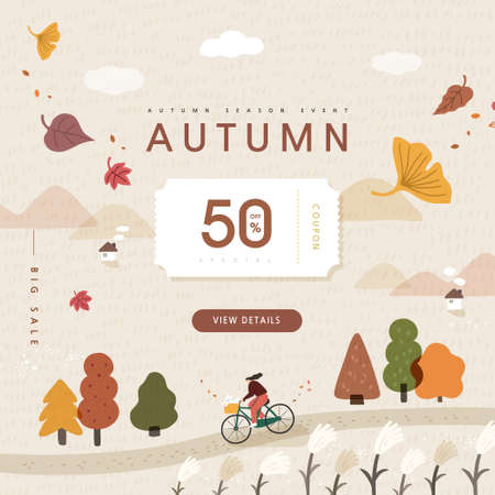 autumn shopping event illustration. Banner.