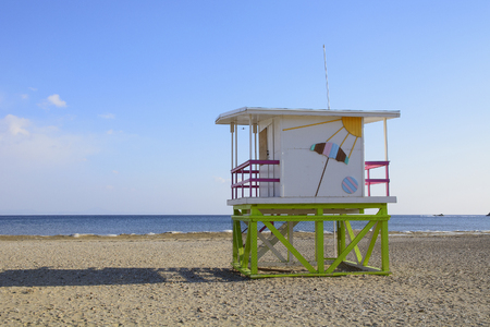 beautiful summer house on the beach in winter 스톡 콘텐츠