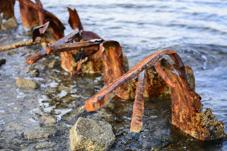 old worn rusty metal in the port Stock Photo - 124869642