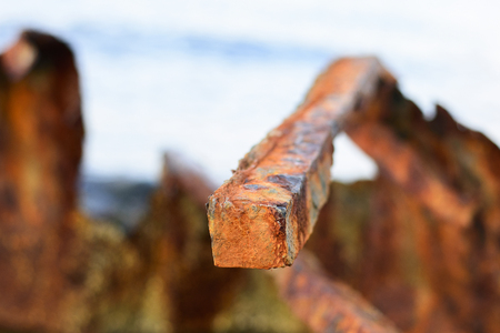 old worn rusty metal in the port Stock Photo - 124869643