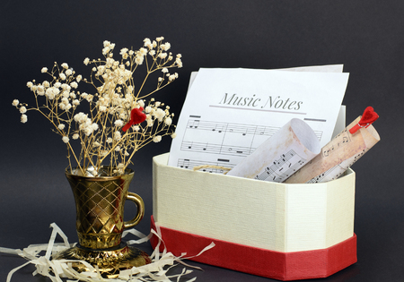 still life with vase, dried flowers and musical notes