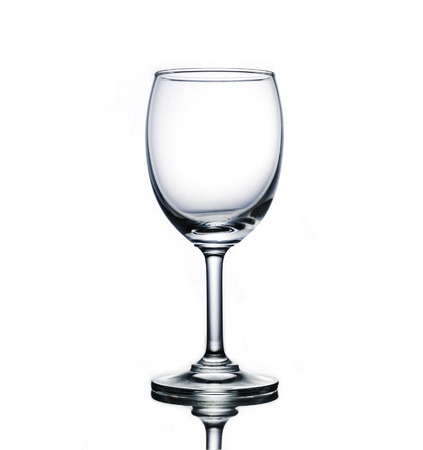Isolate eampty wine glass that have white