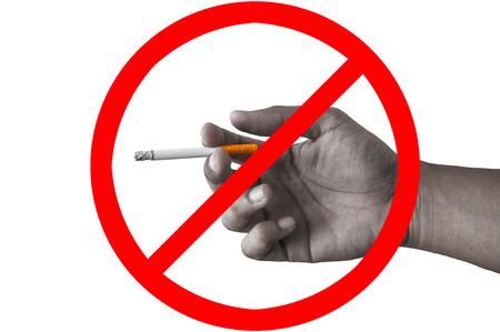Sign stop smoking on white back ground