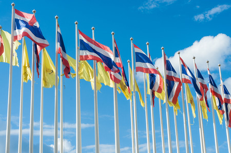 lack: Thailand flag on the blue sky  Stock Photo