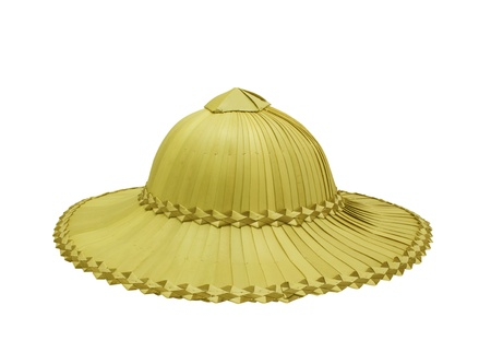 Palm hat for farmers isolated on white background photo