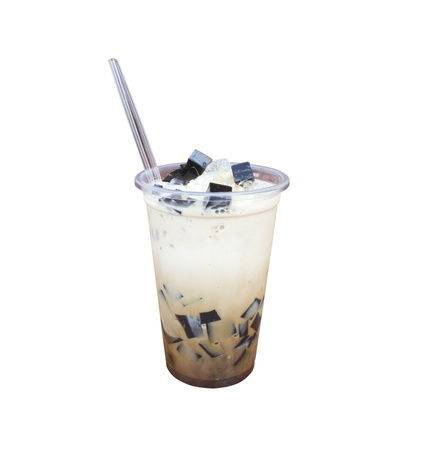 coffee jelly: Black jelly with ice and fresh milk,Thai dessert