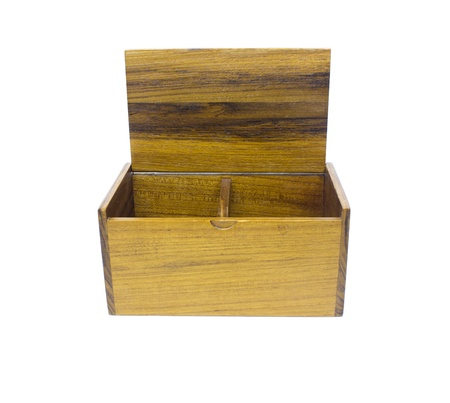 Open wooden box on a white background photo