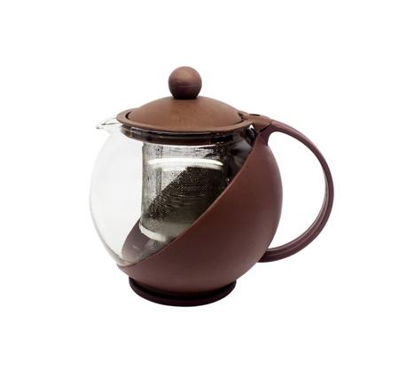 reverberation: Empty glass teapot on white background Stock Photo