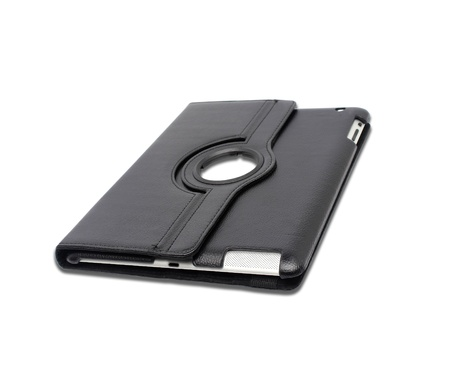 Black leather tablet computer case on a white background photo