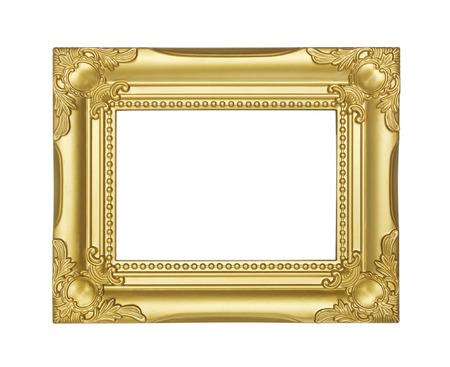 golden frame isolated on white background photo