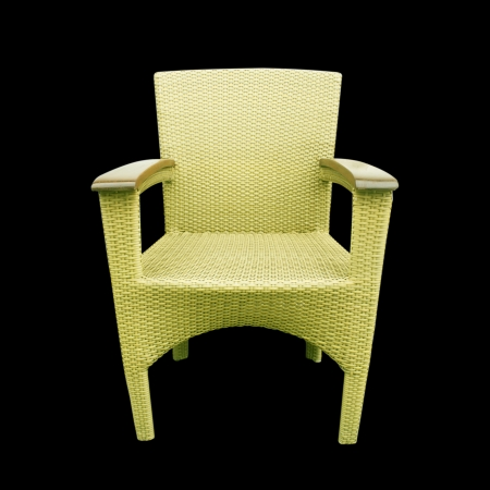 Chairs made of woven plastic Stock Photo