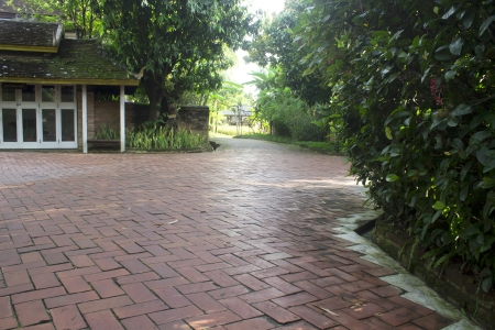 Pathway paved with bricks  photo