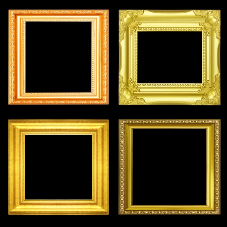 Set of golden vintage frame isolated on black background photo