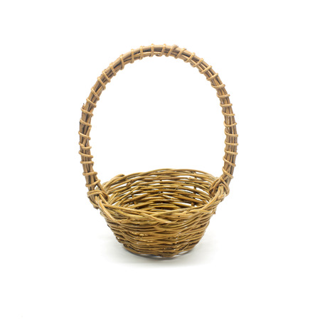 weave wicker basket isolated on white background photo