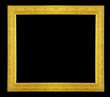 Gold frame on black . photo