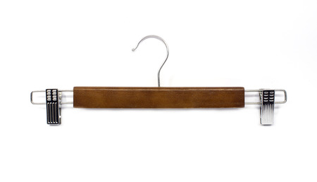 coathanger: Wood hanger isolated on white .