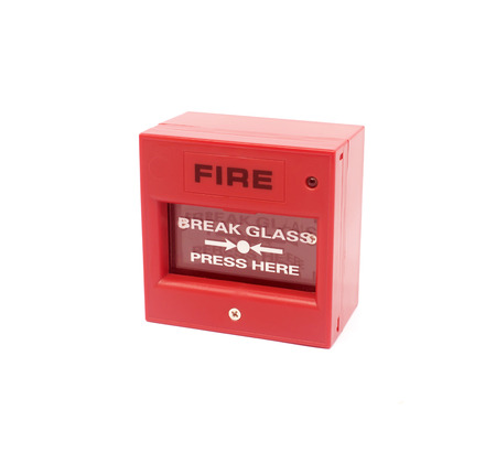 evacuate: Red fire alarm on white background Stock Photo