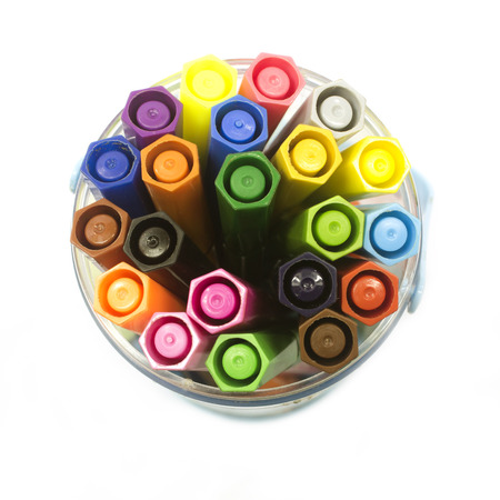 Felt-tip pens in a glass. photo