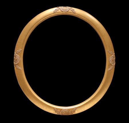 Gold vintage frame isolated on black  background Zdjęcie Seryjne