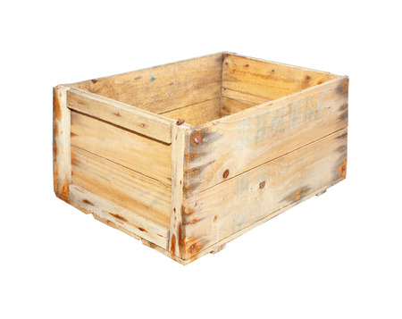 Wooden crate on a white background photo