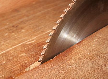 circular saw in carpenters shop photo