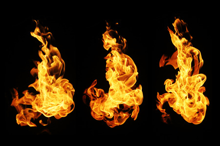 arsonist: Fire flames collection isolated on black background