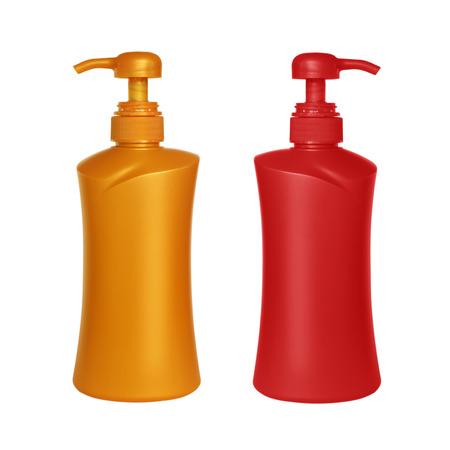 dispenser: Gel, Foam Or Liquid Soap Dispenser Pump Plastic pin on white background.