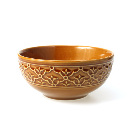 folwer: Brown clay bowl isolated on white