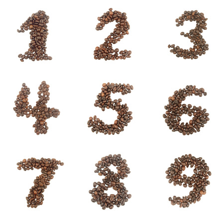 7 8: Number set made of coffee beans - numbers 1,2,3,4,5,6,7,8,9