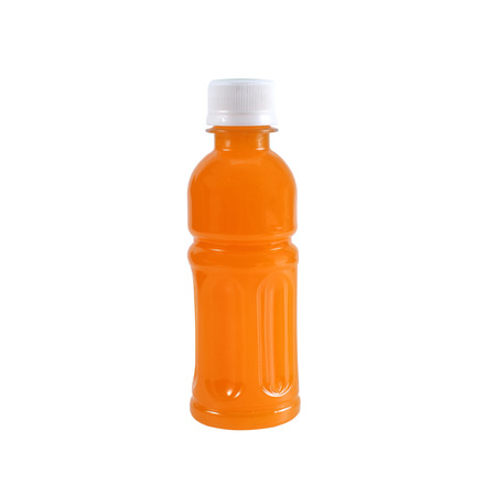 vertical wellness: Orange Juice in a Bottle Isolated on White