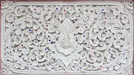 wall design: Stucco white sculpture decorative pattern wall design square format