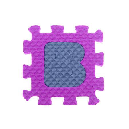 studio b: Alphabet B puzzle pieces on white background Stock Photo