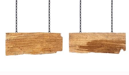 placa bacteriana: Signo de madera que cuelga en una cadena de aislados en blanco