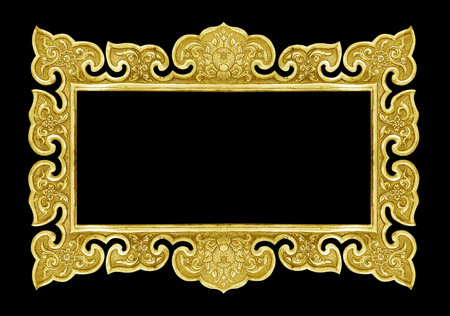 yellow tacks: old decorative frame - handmade, engraved - isolated on black background