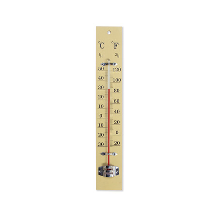 hotter: Wooden thermometer isolated on white