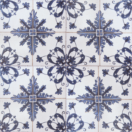 exterior architectural details: Beautiful old ceramic tile wall patterns in the park public.