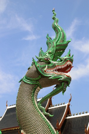 snake head fish: naka statue; Wat Ban den Temple located at changmai
