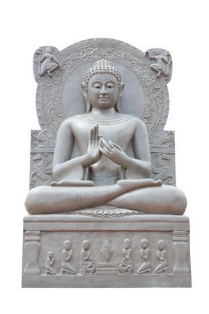 venerable: Buddha statue on white background