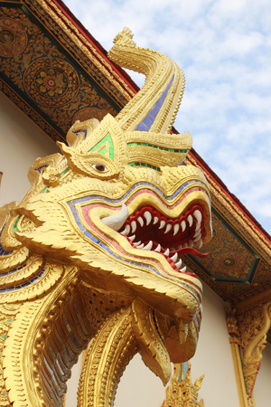 venerate: Naga statue in the temple, Thailand.