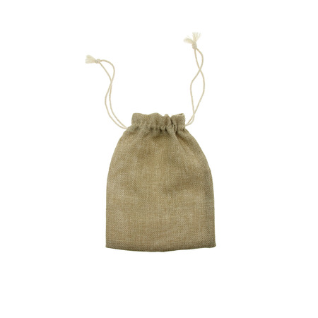 pouch: Empty burlap pouch on white background Stock Photo