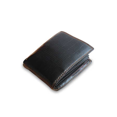 Black leather wallet on white background texture