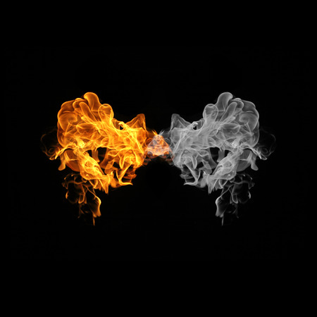fire flame and smoke on black background
