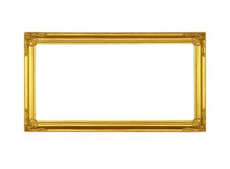 Gold picture frame on white background. Reklamní fotografie - 65111246