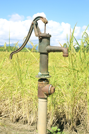 groundwater: Hand pump leading to an artesian well. Pumping water for watering the rice. Rocking groundwater wells