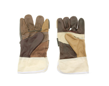 leather gloves for welding on white background Stock Photo