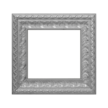 The antique Gray picture frame on white background.