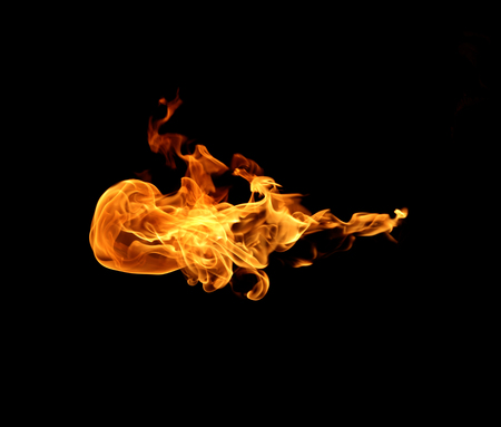 Fire flames abstract on black background Stock Photo